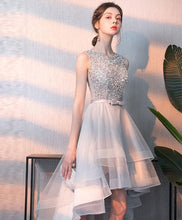 Load image into Gallery viewer, Gray Tulle Sequin Tulle Short Prom Dress, Gray Tulle Evening Dress - DelaFur Wholesale