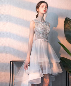 Gray Tulle Sequin Tulle Short Prom Dress, Gray Tulle Evening Dress - DelaFur Wholesale