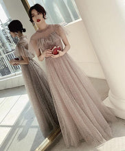 Load image into Gallery viewer, Champagne Tulle Sequin Long Prom Dress, Tulle Formal Dress - SpreePicky FreeShipping