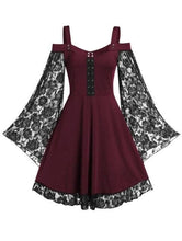 Load image into Gallery viewer, Cold Shoulder Sweetheart Neck Lace Insert Dress SP15555 - SpreePicky