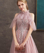 Load image into Gallery viewer, Pink Tulle Lace Long Prom Dress Pink Tulle Formal Dress - DelaFur Wholesale