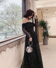 Load image into Gallery viewer, Black Tulle Long Prom Dress, Black Tulle Evening Dress - DelaFur Wholesale