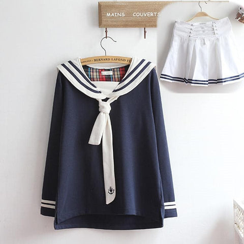 M-XL Beige/Navy Long Sleeve Sailor Top with Skirt Uniform Set SP153608 - SpreePicky  - 14