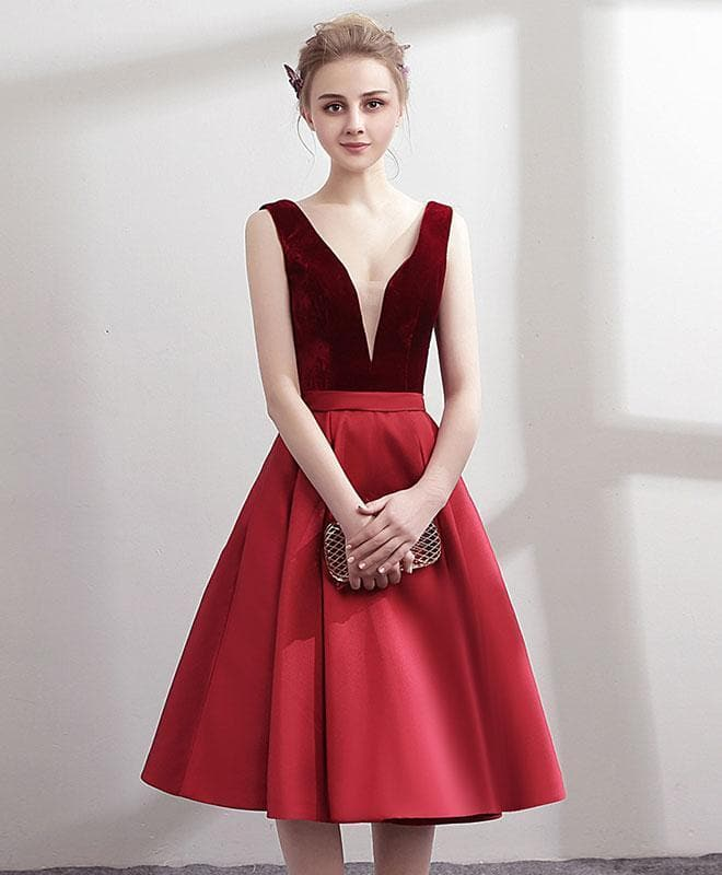 Simple V Neck Burgundy Satin Short Prom Dress, Burgundy Homecoming Dress - DelaFur Wholesale