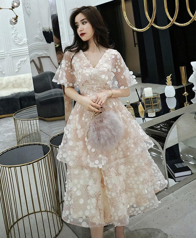 Light Champagne Tulle Short Prom Dress, Tulle Homecoming Dress - DelaFur Wholesale