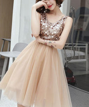 Load image into Gallery viewer, Champagne V Neck Tulle Sequin Short Prom Dress - Harajuku Kawaii Fashion Anime Clothes Fashion Store - SpreePicky