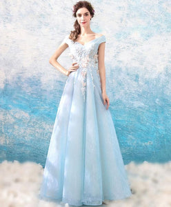 Blue Off Shoulder Long Prom Dress, Blue Lace Evening Dress - DelaFur Wholesale