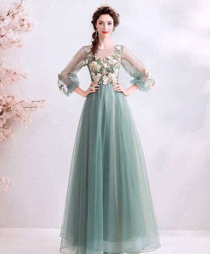 Green Round Neck Tulle Lace Long Prom Dress, Green Bridesmaid Dress - DelaFur Wholesale