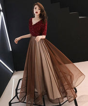 Load image into Gallery viewer, Burgundy Sequin Tulle Long Prom Dress, Burgundy Evening Dress - Harajuku Kawaii Fashion Anime Clothes Fashion Store - SpreePicky