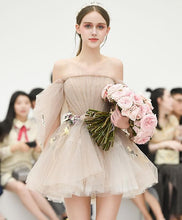 Load image into Gallery viewer, Cute Champagne Tulle Short Prom Dress, Champagne Homecoming Dress - Harajuku Kawaii Fashion Anime Clothes Fashion Store - SpreePicky