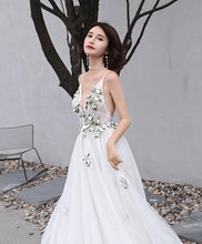 Load image into Gallery viewer, White V Neck Tulle Lace Long Prom Dress, White Evening Dress - DelaFur Wholesale