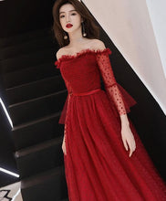 Load image into Gallery viewer, Burgundy Tulle Lace Tea Length Prom Dress, Burgundy Evening Dress - DelaFur Wholesale