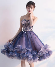 Load image into Gallery viewer, Purple Sweetheart Neck Tulle Lace Applique Short Prom Dress - DelaFur Wholesale