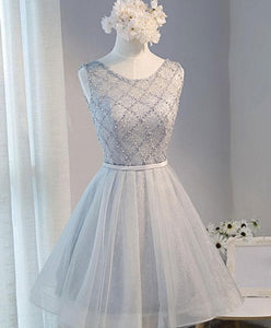 Gray Tulle Beads Short Prom Dress, Gray Homecoming Dress - DelaFur Wholesale