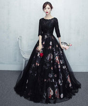 Load image into Gallery viewer, Black Tulle Lace Long Prom Dress, Black Tulle Lace Evening Dress - DelaFur Wholesale