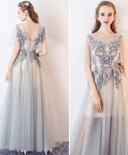 Load image into Gallery viewer, Elegant A-Line Round Neck Tulle Lace Applique Long Prom Dresses - DelaFur Wholesale