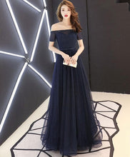 Load image into Gallery viewer, Dark Blue Tulle Long Prom Dress, Blue Tulle Evening Dress - Harajuku Kawaii Fashion Anime Clothes Fashion Store - SpreePicky