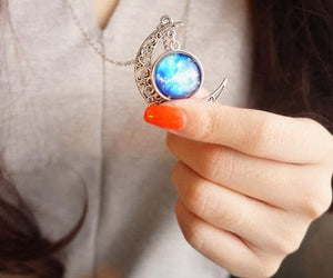 Blue/Red Galaxy Stars Pastel Moon Long Chain Necklace SP141541 - SpreePicky  - 8