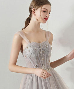 Gray Sweetheart Neck Tulle Long Prom Dress, Gray Tulle Evening Dress - DelaFur Wholesale