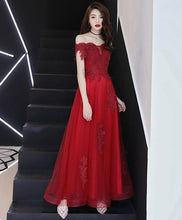 Load image into Gallery viewer, Burgundy Tulle Off Shoulder Lace Tea Length Prom Dress Lace Evening Dress - DelaFur Wholesale