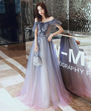 Load image into Gallery viewer, Simple Tulle Off Shoulder Long Prom Dress Blue Tulle Evening Dress - DelaFur Wholesale