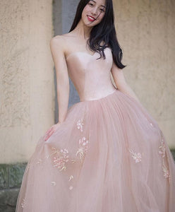 Simple Pink Tulle Long Prom Dress, Pink Tulle Formal Dress - DelaFur Wholesale