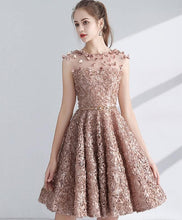 Load image into Gallery viewer, Unique 3D Lace Short Prom Dress, Homecoming Dress - DelaFur Wholesale