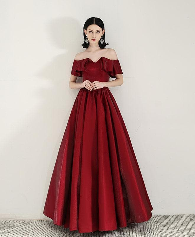 Simple Sweetheart Satin Burgundy Long Prom Dress Evening Dress - DelaFur Wholesale