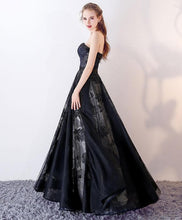 Load image into Gallery viewer, Black Sweetheart Tulle Long Prom Dress, Black Evening Dress - DelaFur Wholesale