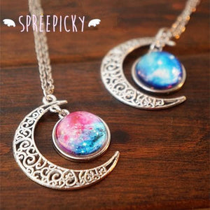 Blue/Red Galaxy Stars Pastel Moon Long Chain Necklace SP141541 - SpreePicky  - 2