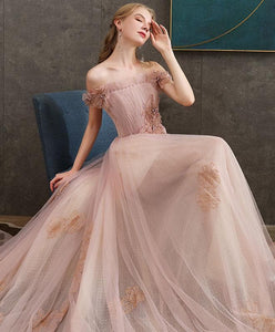 Pink Tulle Lace Long Prom Dress Pink Lace Evening Dress - DelaFur Wholesale