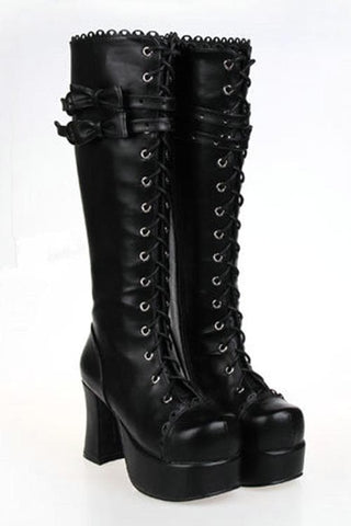 Lolita Gothic Punk Bow High Heel Boots SP151727 - SpreePicky  - 3