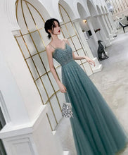 Load image into Gallery viewer, Green Sweetheart Tulle Sequin Long Prom Dress Tulle Formal Dress - DelaFur Wholesale