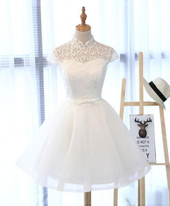 Cute White Lace Short Prom Dress, White Homecoming Dress - DelaFur Wholesale