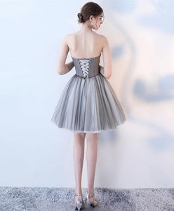 Simple Gray Tulle Short Prom Dress, Gray Homecoming Dress - DelaFur Wholesale