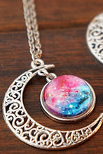 Load image into Gallery viewer, Blue/Red Galaxy Stars Pastel Moon Long Chain Necklace SP141541 - SpreePicky  - 4