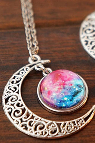 Blue/Red Galaxy Stars Pastel Moon Long Chain Necklace SP141541 - SpreePicky  - 4
