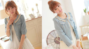Dark Blue/Light Blue Denim With Lace Collar and Bubble Sleeves Jacket Coat SP141369 - SpreePicky  - 2