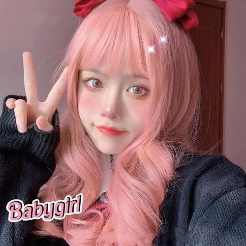 Harajuku Sweet Pink Lolita JK Long Curly Hair SP15773