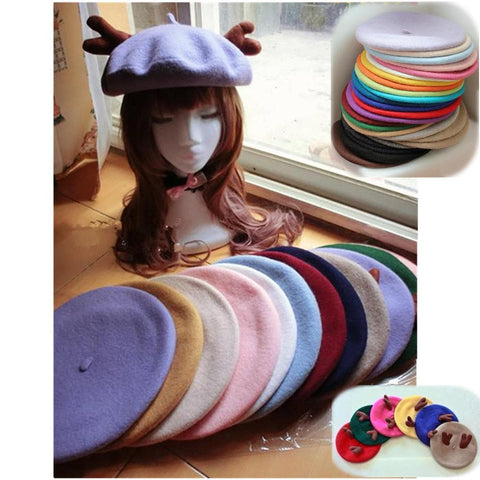 24 colors Antlers Beret Hat SP153408 - SpreePicky  - 1