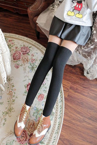 Basic Black Fake Over Knee Thigh High Fleece Footless Tights SP154136 - SpreePicky  - 3