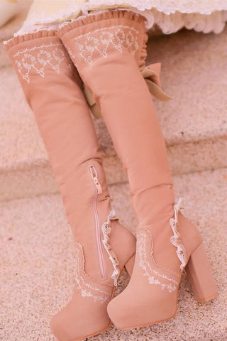 Beige/Light Tan Sweet Bowknot Rough Heels Long Boots SP154417 - SpreePicky  - 2