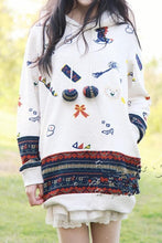 Load image into Gallery viewer, Beige/Navy Mori Girl Cutie Patterns Hoodied Sweater SP154316 - SpreePicky  - 2