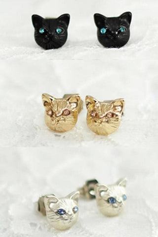 Black/Gold/Silver Cutie Cat Earrings SP153287 - SpreePicky  - 2