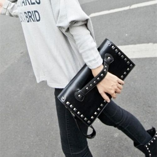 Black/White Rivet Massge Hand Bag/Shoulder Bag SP154298 - SpreePicky  - 1
