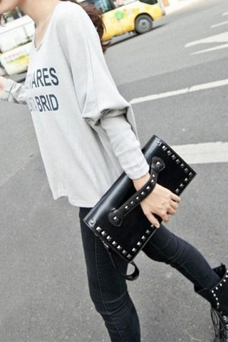 Black/White Rivet Massge Hand Bag/Shoulder Bag SP154298 - SpreePicky  - 3