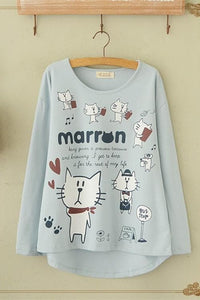Blue/Beige What A Kitty Daily Life Jumper Shirt SP154313 - SpreePicky  - 3