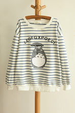 Load image into Gallery viewer, Blue/Navy Stripe Totoro Mori Girl Long Sleeve Jumper SP153463 - SpreePicky  - 3