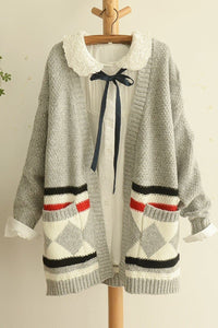Grey/Black Mori Girl Long Sleeve Cardigan Sweater Coat SP153456 - SpreePicky  - 3