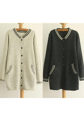 Grey/Black Mori Girl Long Sleeve Cardigan Sweater Coat SP153462 - SpreePicky  - 2